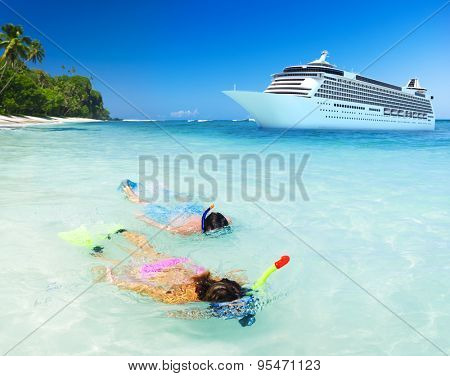 Couple Snorkeling Activity Ocean Cruise Concept