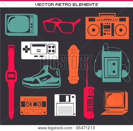 Retro 80 vintage elements set collection