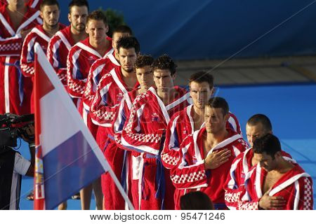 BARCELONA - AUG, 1: Croatian national Waterpolo Team posing before a match against Hungary during a World Championship BCN2013 at the Picornell Swimming pool on August 1 2013 in Barcelona Spain