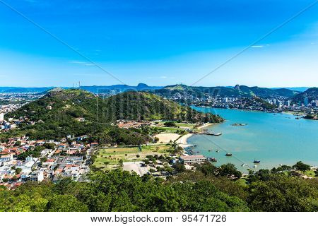 Aerial view of Vitoria bay in Espirito Santo, Brazil