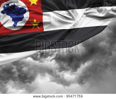 Sao Paulo, Brazil waving flag on a bad day