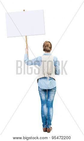 Back view woman showing sign board. girl holds information plate. Rear view people collection. backside view of person. Isolated over white background. Girl in sleeveless on strike.