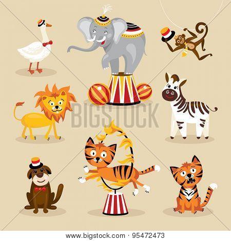 Set of cute circus animals vector illustration