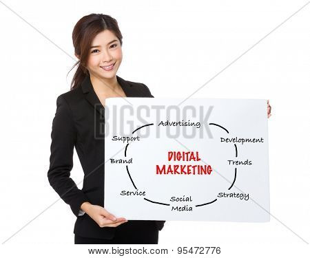 Young businesswoman showing a placard showing with we are hiring phrases