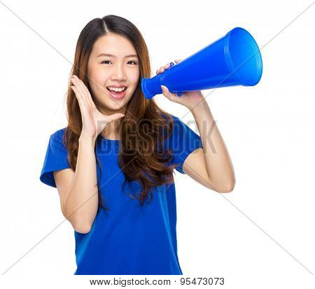 Asian student yell with megaphone