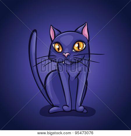 Halloween cute cat character. Vector illustration. Halloween greeting card.