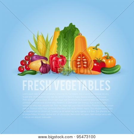 Fresh vegetables. Healthy and organic vector illustration background.