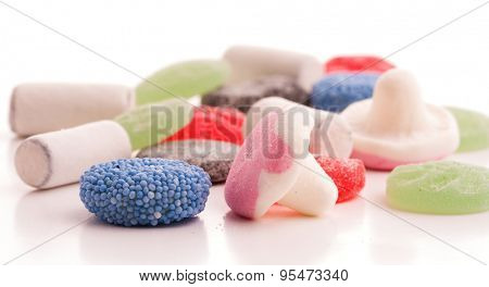 Colorful assorted candy on white