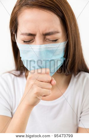 Young woman cough with protective face mask
