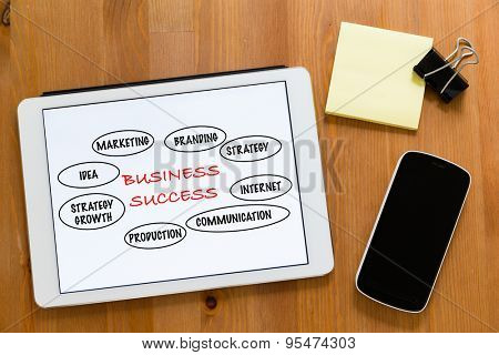 Working desk with mobile phone and digital tablet showing marketing success concept
