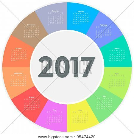 Circle calendar for 2017 year. Colorful vector