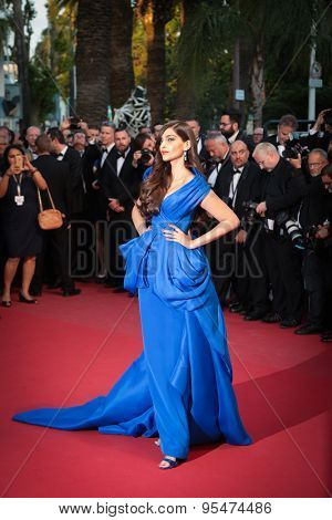 Cannes, France - May 16, 2015: Sonam Kapoor attends the 'Sea Of Trees' premiere during the 68th annual Cannes Film Festival on May 16, 2015 in Cannes, France.