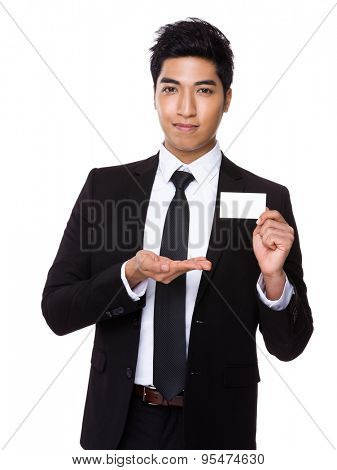 Businessman showing empty namecard