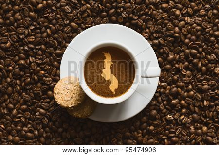 Still Life - Coffee With Map Of Malawi