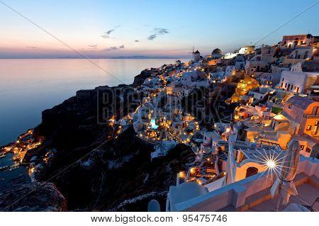 santorini island oia night view