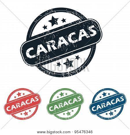 Round Caracas city stamp set