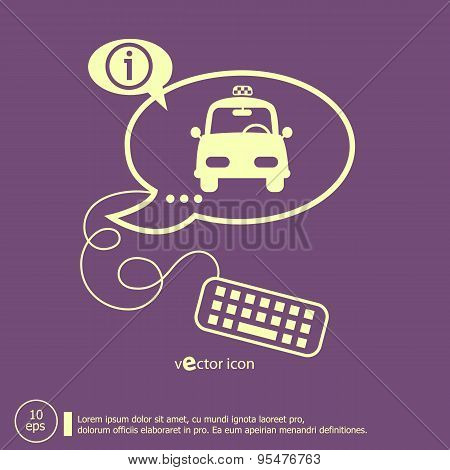Taxi Icon And Keyboard Design Elements
