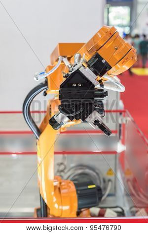 robotic hand for machine tool at industrial manufacture factory