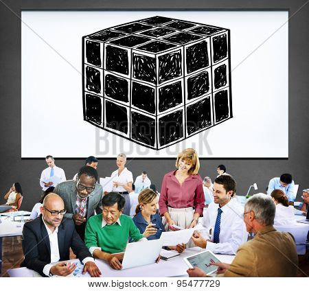 Cube Dice Dimension Logic Mind Thinking Concept