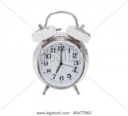 Silvered alarm clock isolated on a white background