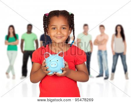 Little afroamerican girl with money box and young casual people of background unfocused