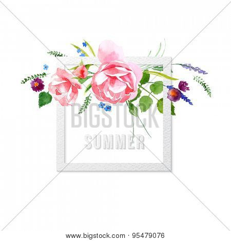 Summer time floral card with paper frame