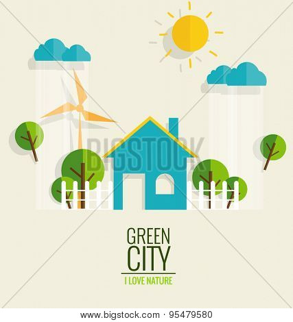 ECO FRIENDLY. Ecology concept with Green city and Trees. Vector illustration.