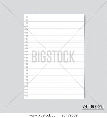 Collection of white note papers, ready for your message. Vector illustration.