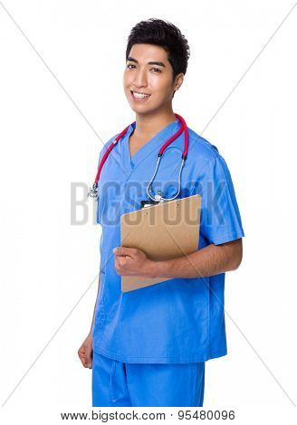 Doctor holding with clipboard