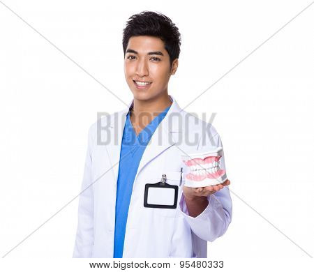 Asian Dentist holding with denture