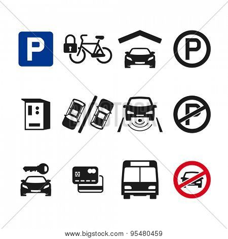 Vector parking icon set 03