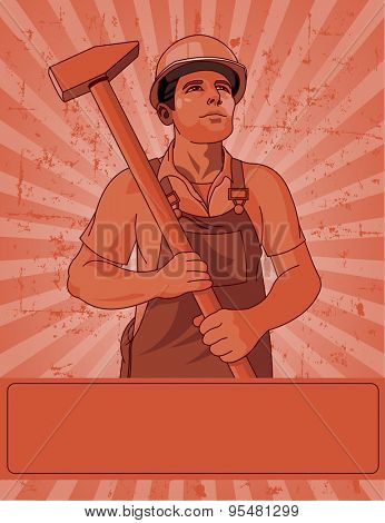 Poster for Labor Day worker holds a hammer