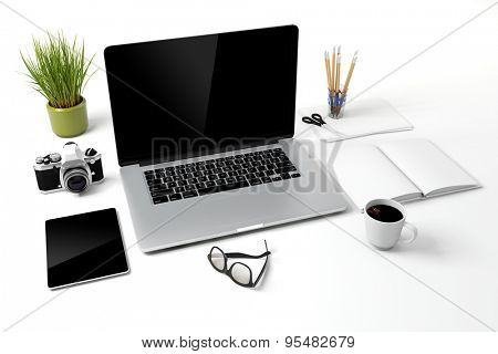 3d modern computer workplace
