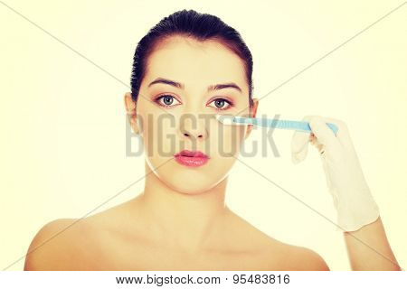 Cosmetic face surgery with scalpel
