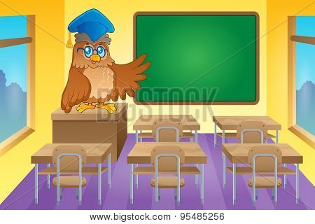Classroom with owl teacher - eps10 vector illustration.