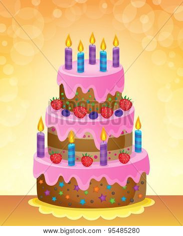 Birthday cake theme image 5 - eps10 vector illustration.
