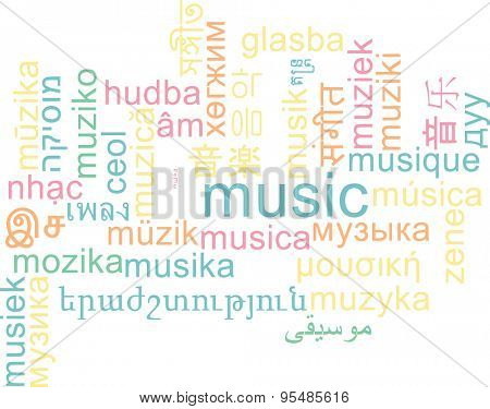 Background concept wordcloud multilanguage international many language illustration of music