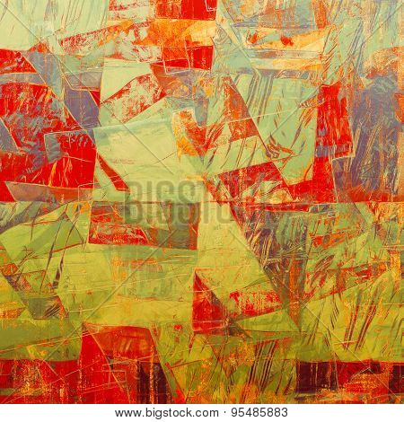 Aging grunge texture, old illustration. With different color patterns: brown; gray; green; red (orange)