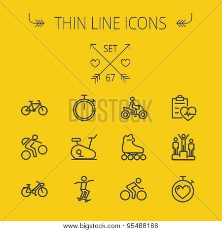 Sports thin line icon set for web and mobile. Set includes- stopwatch, skatboard, bicycle, mountain bike, motorbike, roller skate, heart and time, winners icons. Modern minimalistic flat design