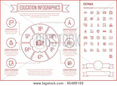 Education infographic template and elements. The template includes the following set of icons - cheering, bell, palette, student, blackboard and more. Modern minimalistic flat thin line vector design