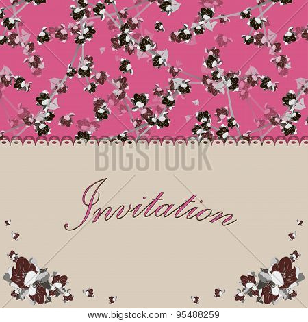 Beautiful floral invitation card with flowers