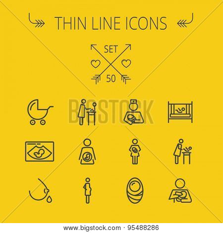 Medicine thin line icon set for web and mobile. Set includes- stroller, crib, nurse, breastmilk, pregnant, baby icons. Modern minimalistic flat design. Vector dark grey icon on light grey background.
