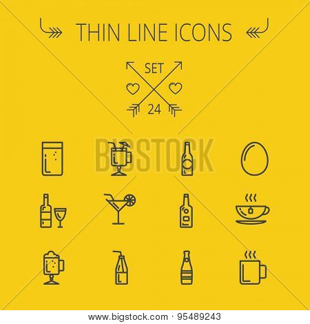 Food and drink thin line icon set for web and mobile. Set includes- coffee, soda, lime, egg, bottle, cocktail drink, glass, wine glass icons. Modern minimalistic flat design. Vector dark grey icon on