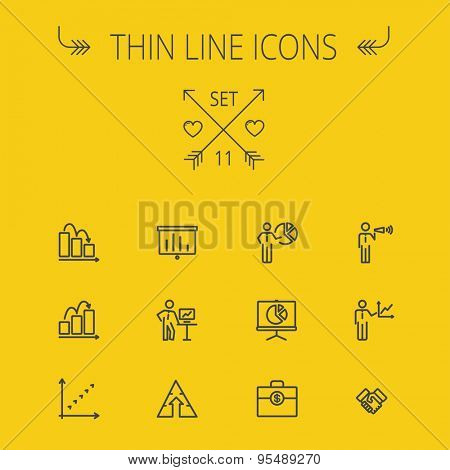 Business thin line icon set for web and mobile. Set includes- money bag, graph, roller screen, business presentation, pie chart icons. Modern minimalistic flat design. Vector dark grey icon on light