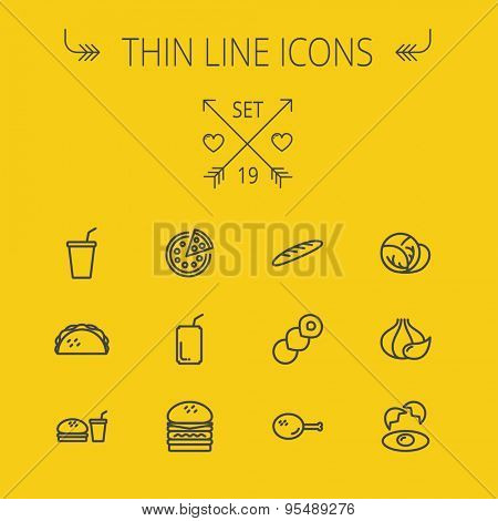 Food and drink thin line icon set for web and mobile. Set includes- onion, egg, chicken, meal set, soda, burger, taco icons. Modern minimalistic flat design. Vector dark grey icon on yellow background