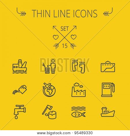 Ecology thin line icon set for web and mobile. Set includes-gasoline pump, fish, ship, garbage bin,watering can, faucet, global icons. Modern minimalistic flat design. Vector dark grey icon on yellow