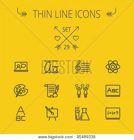 Education thin line icon set for web and mobile. Set includes- alphabet, music note, paint, cheering, math, painting atom icons. Modern minimalistic flat design. Vector dark grey icon on yellow