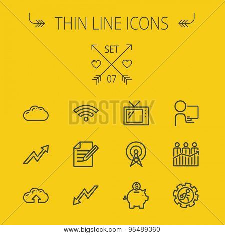 Business thin line icon set for web and mobile. Set includes- wifi, notepad, cloud arrows, antenna, money, gear piggy bank icons. Modern minimalistic flat design. Vector dark grey icon on yellow