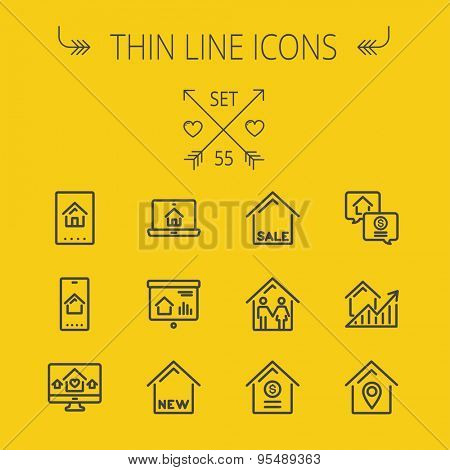 Real estate thin line icon set for web and mobile. Set includes- electronic keycard, business card, graphs, new house, couple, dollar, locator pin icons. Modern minimalistic flat design. Vector dark