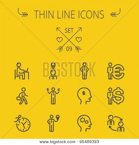 Business thin line icon set for web and mobile. Set includes-head, Euro, US dollar, clock, head, laptop, bulb, businessman icons. Modern minimalistic flat design. Vector dark grey icon on yellow